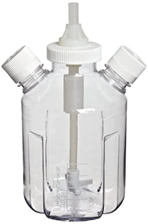 Nalgene 2605-0001 1L Culture Vessel with Magnetic Stir Bar, 2 Ports, PC/PP/TFE