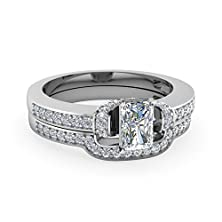 buy 1.60 Ct Radiant Cut Diamond Encrusted Curve Engagement Wedding Rings Pave Set Gia