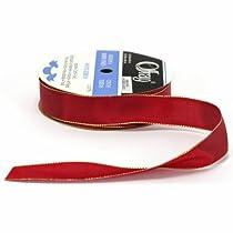 Offray Wired Metallic Edge Taffeta Craft Ribbon 7/8-Inch Wide by 15-Yard Spool Burgundy