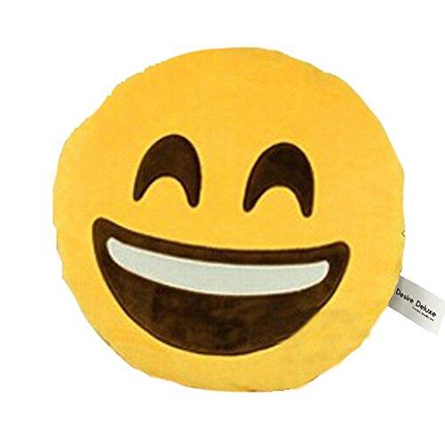 SweetDream - Cuscino rotondo, morbido, disegno: emoticon, colore: giallo  Smile Face
