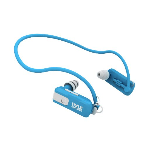 Pyle PSWB4BL Waterproof Neckband MP3 Player and Headphones for Swimming, Water Sports – Blue