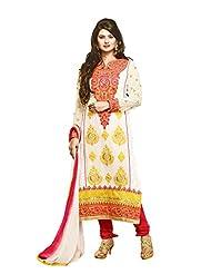 Surat Tex Cream Color Embroidered Georgette Semi-Stitched Salwar Suit - B017RAUZ28