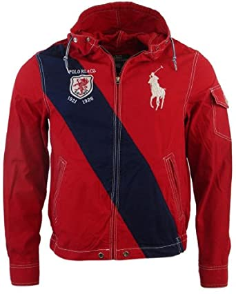 Polo Ralph Lauren Mens Nylon/Cotton Blend Hooded Windbreaker - S - Red/Navy
