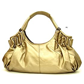 Oversized Pleated Handbag - Gold - Free Shipping