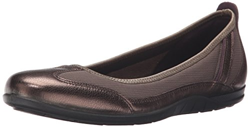 Ecco Footwear Womens Bluma Summer Ballerina Ballet Flat, Licorice Metallic/Tarmac, 39 EU/8-8.5 M US