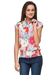 Vemero Women's Crepe Shirt_VCT-0002-WHT_ Multicoloured_S