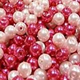 100 pieces 6mm Glass Pearl Beads - Pink Mix - A0983