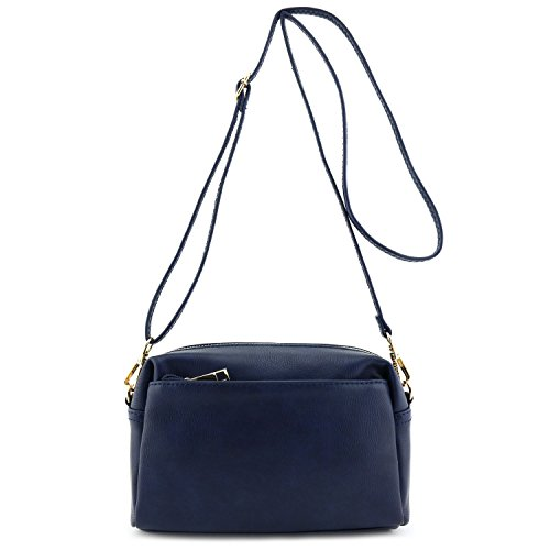 Small Triple Zip Crossbody Bag Navy (Blue Crossbody Purse compare prices)