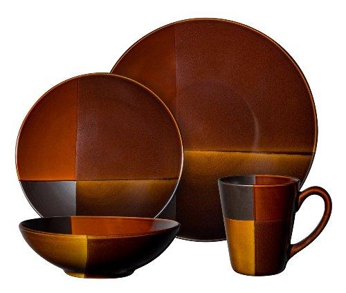 Gibson Convergence 16-piece Dinnerware Set Service for 4, Dark brown and Orange