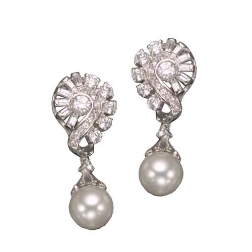 C.Z. AND PEARL CLIP POST RHODIUM PLATED (.925) STERLING SILVER EARRINGS