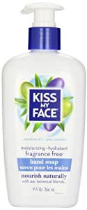 Kiss My Face Moisture Liquid Hand Soap, Fragrance Free, 9 Ounce Pumps