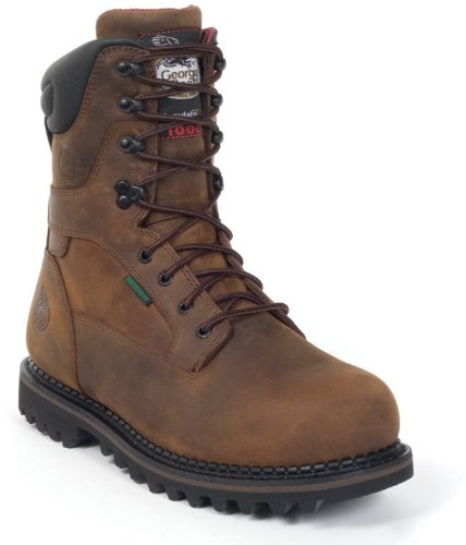 "Georgia Men'S 8"" Steel Toe Lace Up Boots,Brown,11 D"