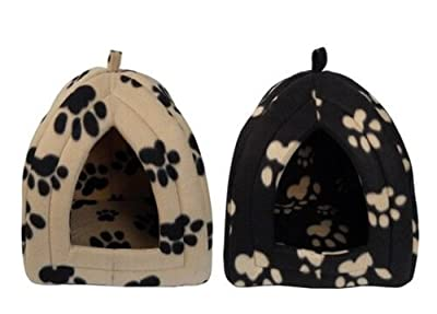 Igloo Pet Bed for Cats or Toy Breed Dogs in Paw Print Design