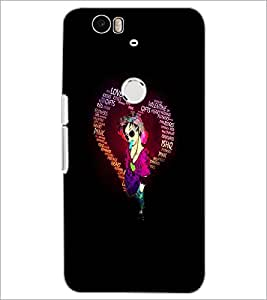 PrintDhaba Typographic Heart D-2720 Back Case Cover for HUAWEI NEXUS 6P (Multi-Coloured)