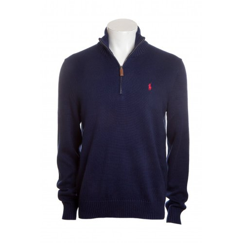 Polo Ralph Lauren mens long sleeve half zip mock neck jumper in chateau navy MED