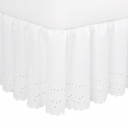 Best Prices! Elegant Eyelet Dust Ruffle - Eyelet Bed Skirt, Queen - White