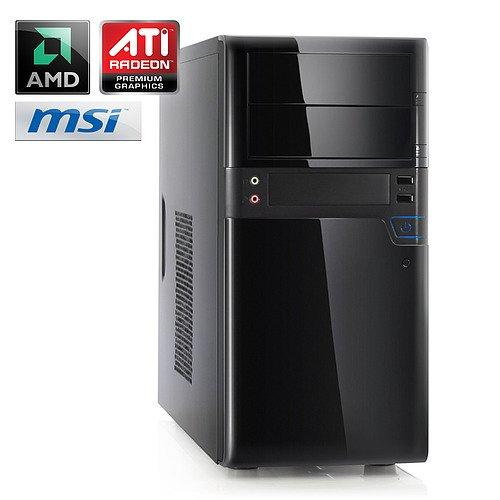 Leiser Aufrüst-PC A21870 - DualCore-Barebone PC! Computer-System mit AMD Athlon II X2 250 2x 3000 MHz, 4GB DDR3 RAM, MSI Mainboard, Radeon HD 3000, 7.1 Sound, Gigabit LAN