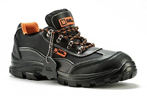 Scarponcini antinfortunistici da uomo con puntale in acciaio Scarpe da lavoro e trekking con protezione caviglia e intersuola con lamina antiforo Black Hammer 8821 (42 EU / 8 UK, Nero)