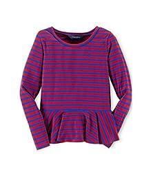 Ralph Lauren Polo Little Girl\'s Stripe Peplum Top (3T, Red/Royal Blue)