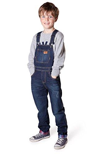 Salopette Bambini Lavato scuro 4 6 8 10 12 salopette di jeans blu pantaloni