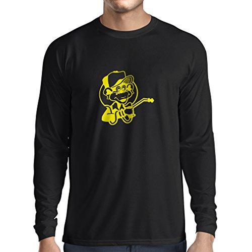 N4055L T-shirt manica lunga da uomo Funny Gas monkey (Small Nero Giallo)