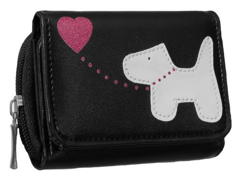 EyeCatchBags - Dog Emblem Faux Leather Fabretti Womens Purse Black/White