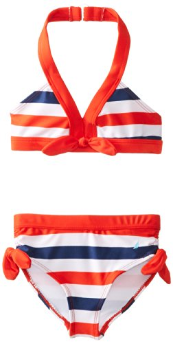 Nautica Little Girls' Multi Stripe Bikini, True Red, 6 front-985805