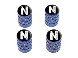 N Letter Distressed - Tire Rim Wheel Valve Stem Caps - Blue