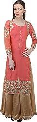 Fibre World Women's Cotton Chanderi Straight Kurta (Fwk12_L, Orange, L)