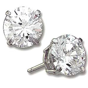 8 ct Sterling Silver Round CZ Stud Earrings 10MM