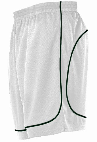 Alleson 548PW Women s Basketball Shorts WH/DG - WHITE/DARK GREEN WL