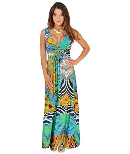 Vestido Largo Estampado Tropical[Azul/Multicolor,S/M (36-38)]
