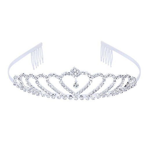 Tinksky delicato Wedding Bridal Prom brillanti strass Crown Princess Tiara cerchietto con pettine (Argento)