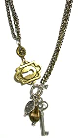 Grandmother's Buttons Chunky Two-Way Gold and Silver Necklace with Antique Button and Charms