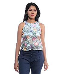 Avakasa Polyester Blue Floral Partywear Sleeveless Sleeves Top (top-25-blue)