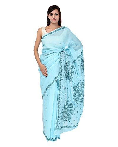 A1 Fashion Women Cotton Blue Saree With Blouse Piece - B00VUS1HV2