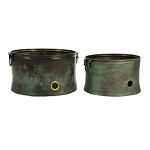 Set of 2 Distressed Vintage Verdigris Decorative Garden Hose Pots