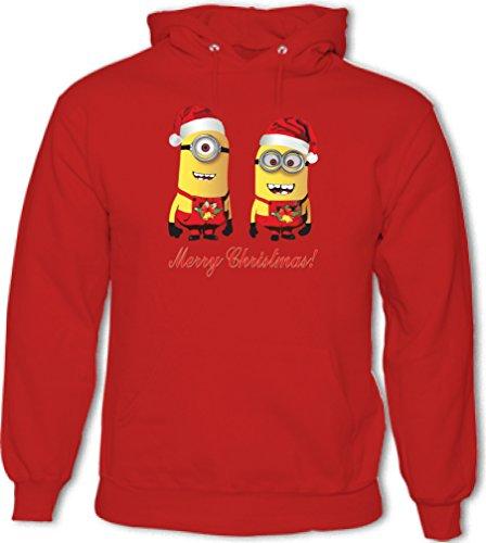 Minions Wishing You A merry christmas. Divertente da UOMO, con cappuccio Cherry Red Large