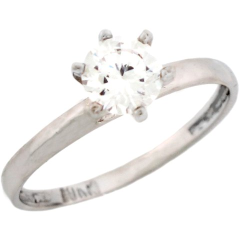 10k Yellow Gold White 1.5ct CZ Petite Round Solitaire Engagement Ring