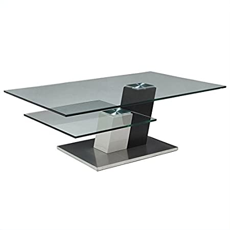 "Kaffina 30""X40"" Rectangular Glass Top Coffee Table in Stainless Steel"