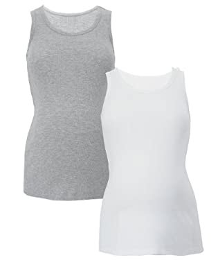 Maternity Vest Tops - 2pk White/Grey marl