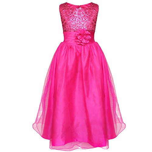 YiZYiF Girls Sequinned Dress Flower Sash Sleeveless Formal Party Wedding Bridesmaid Deep Pink 12-14 Years