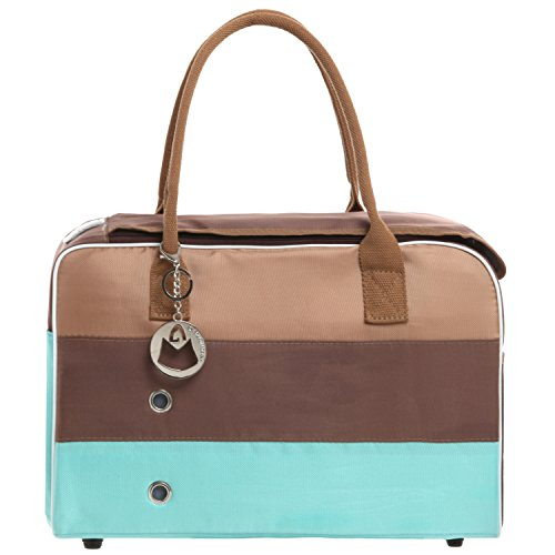 MG Collection Tri Color Mesh Top Opening Soft Sided Dog / Cat Pet Carrier Shoulder Hand Bag, Turquoise