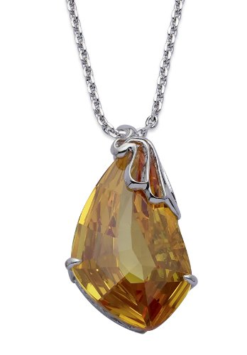 Silver Colour Metal With Topaz Colour Crystal Pendant With Chain 16.5' +2' extender