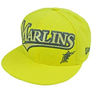 MLB Florida Marlins New Era 59Fifty 5950 Fitted Hat Cap Yellow On Field 7 3 4 by 59FIFTY New Era