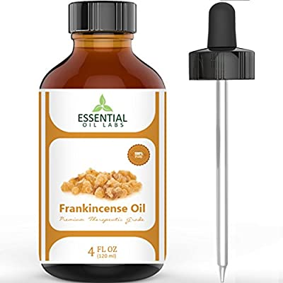 Frankincense Oil - Highest Quality Therapeutic Grade Backed by Research - Large 4 oz Bottle with Premium Dropper - 100% Pure and Natural by Essential Oil Labs