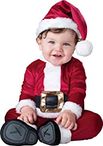 InCharacter Costumes, LLC Baby Santa Hat With Jumpsuit, Red/White, Small