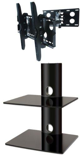 package-deal-two-glass-shelves-wall-mount-for-audio-video-equipment-all-black-universal-swivel-tilt-