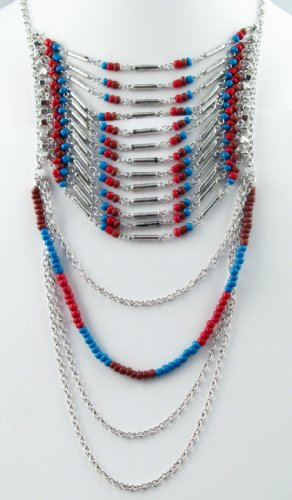 Native American Style Multi-layered Breastplate Fashion Necklace with Earrings Set Turquoise/red/brown/silver