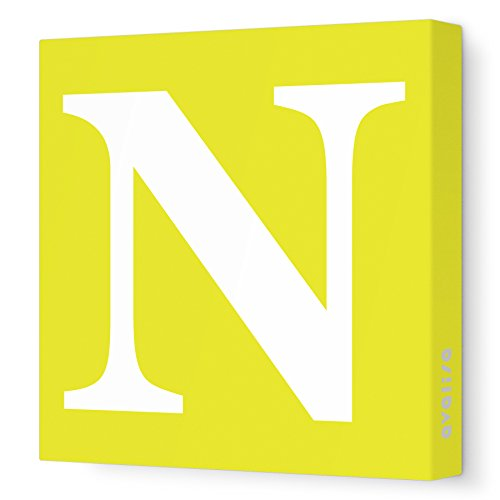 "Avalisa Stretched Canvas Upper Letter N Nursery Wall Art, Yellow, 18"" x 18"""